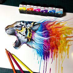 Tigre de arco iris  firmado Art Print por PixieColdArt en Etsy