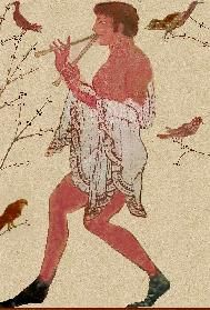 Etruscan Fresco of a Double Flute player