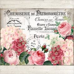 French Vintage Shabby Chic Roses & Hydrangeas, French Wreath Sign Accent, Floral Fabric Transfer, In Vintage Shabby Chic, French Vintage, Vintage Paper, Etsy Vintage, Vintage Wreath, French Images, Vintage Rosen, Flamingo Art, Decoupage Paper