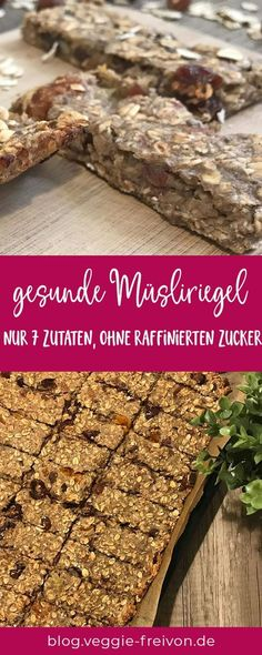 Homemade muesli bars with only 7 ingredients: For this cereal bar recipe you can … – Gesunde Snacks – Lunch Homemade Muesli Bars, Healthy Granola Bars, Easy Snacks, Healthy Snacks, Granola Barre, Vegetable Protein, Nutella, Super, Kindergarten Lunch