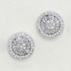 Sparkling circle stud earrings.