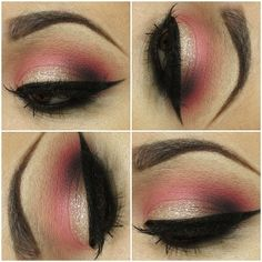 Love this pink and glitter eye makeup x