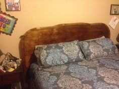 Custom King Size Headboard is made from all wood.  Even the trim was hand built and routed to enhance the solid head board.