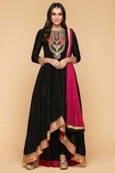 b7f40f356eb3 Muslim Eid Dresses - Attractive Crepe Trail Cut Embroidered Anarkalii Suit  In Coal Black Color - 1935 for women online. Andaaz Fashion USA