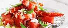 Prawns with Watermelon & Feta Salad, brought to you by MiNDFOOD. Feta Salad, Caprese Salad, Watermelon And Feta, Prawn, Fish And Seafood, Salads, Healthy Living, Dinner Recipes, Cooking Recipes