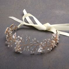 Bridal Headband with Hand Painted Gold and Silver Leaves