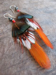 Bright and Exotic Feather Earrings by Lago Exotic Jewelry