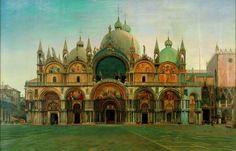 """John Wharlton Bunney - """"Western Facade of the Basilica San Marco, Venice"""""""