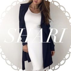 • Reserved • for Shari • Dark Navy Trench (M) • Baby Blue Open Back Blouse (M) Other