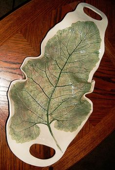 HUGE REAL LEAF impressed ceramic