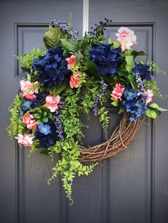 Spring Wreaths Spring Door Wreath Blue Pink Wreaths New Home Gift Housewarming Gift Spring Decor Mothers Day Gift Spring Birthday Gift Ideas Pink Wreath, Floral Wreath, Spring Door Wreaths, Spring Design, New Home Gifts, Grapevine Wreath, Grape Vines, House Warming, Doors