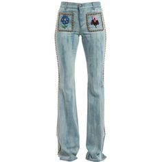Gucci Women Studded & Embroidered Flair Denim Jeans (£1,420) ❤ liked on Polyvore featuring jeans, blue, embroidery jeans, gucci jeans, gucci, blue jeans and button front jeans
