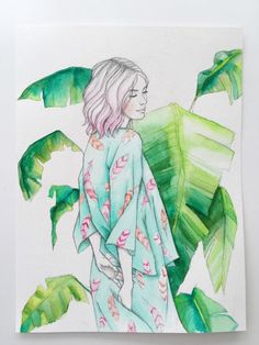 Boho girl in feather print kimono with pink hair. Tropical leaves. Original watercolor and drawing for $100 on Etsy.