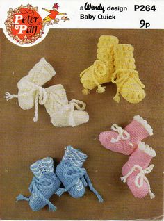 baby bootees knitting & crochet pattern DK baby booties shoes lemon crochet Vintage 70s DK Light worsted 8ply Instant download by coutureknitcrochet on Etsy