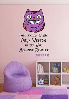 cik1537 Full Color Wall decal Alice in Wonderland Cheshire Cat quote bedroom children's room
