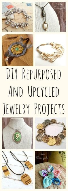 Love to repurpose vintage and random items into DIY jewelry? Well, I've got you covered with this collection of AMAZING upcycled necklace, bracelet, and brooch craft project ideas! From silverware, to buttons, to architectural salvage, to tennis rackets- this is the BEST collection of repurposed / upcycled jewelry projects around. #SadieSeasongoods / www.sadieseasongoods.com #craftsprojects #craftsprojectideas #diyjewelry