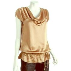 BNWT BCBGMaxAzria Gold Silk Top Never worn with tags still on! Draped collar, cap sleeves and gathered waist make this utterly adorable. BCBGMaxAzria Tops