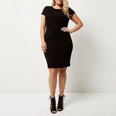 RI Plus black ruched bodycon dress - bodycon dresses - dresses - women