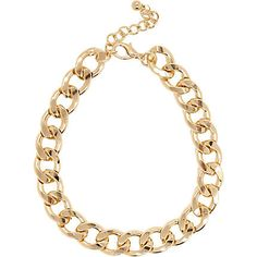 Gold tone chunky curb chain necklace $24.00 - best one I've seen but I'd rather one not pressed (still >30!)