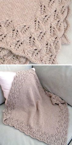 Knitting Pattern for Elora Baby Blanket - Leaf lace cascades down and around the edges of this lovely blanket. Lace pattern is written and charted. Size: After blocking 81cm x 105cm (32 in x 41½ in) approx. Designed by Emily Johannes. Aran weight yarn.