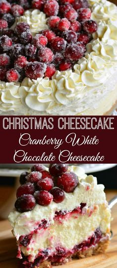 White Christmas Cheesecake with Cranberry Jam White Chocolate Mousse Cheesecake. Amazing CHRISTMAS CHEESECAKE to make your holidays magic. Vanilla bean cheesecake layered with an easy cranberry jam and smooth white chocolate mousse. Cranberry Jam, Cranberry Recipes, Holiday Recipes, Christmas Cranberry Cake, Easy Christmas Recipes, Cranberry Dessert, Dessert Party, Oreo Dessert, Dessert Chocolate