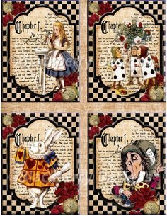 decoupage paper collage sheets vintage images of alice in wonderland, mad hatter, cheshire cat, queen of hearts, white rabbit Alice In Wonderland Crafts, Alice In Wonderland Decorations, Adventures In Wonderland, Wonderland Party, Mad Hatter Tea, Decoupage Paper, Vintage Diy, Collage Sheet, Disney Art