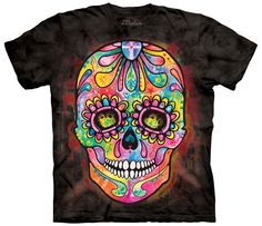 Mountain T Shirt with Day of the Dead design by Dean Russo. This heavyweight 100% Cotton T-Shirt will last you for years and features an over-sized relaxed fit, with reinforced double-stitching on all