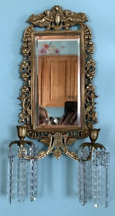Mirror Candle Sconce, Antiques For Sale, Beveled Mirror, Cherub, Victorian, Candles, Crystals, Cool Stuff, Cluster Pendant Light