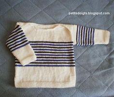 C'est une pull marin dont les épaules se croisent sur le dessus (pull à emmanchures américaines). Les enfants et les mamans aiment bien ce ...