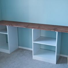 Something similar to this could work in master nook, but put doors on the shelves