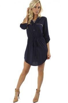 Zipper Tunic Dress Navy $24.99