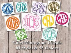 Personalized Monogram Decal Monogram Sticker Waterproof Vinyl Custom Car Decal Monogrammed Initials  Water Bottle Tumbler Baby