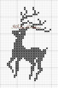 Cute little one color reindeer Cross Stitch Christmas Ornaments, Xmas Cross Stitch, Christmas Embroidery, Christmas Cross, Cross Stitch Charts, Cross Stitch Designs, Cross Stitching, Cross Stitch Embroidery, Cross Stitch Patterns