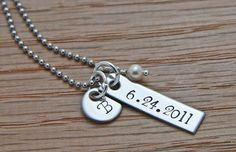 Personalized New Baby Necklace  Hand Stamped Mom by brooksmetal, $25.00
