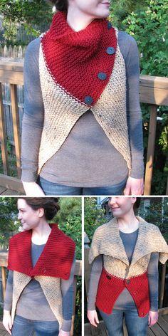 Knitting Pattern for Easy Convertible Garter Vest - Easy versatile vest with but. - knitting vest , Knitting Pattern for Easy Convertible Garter Vest - Easy versatile vest with but. Knitting Pattern for Easy Convertible Garter Vest - Easy versatile. Beginner Knitting Patterns, Knitting For Beginners, Easy Knitting, Knitting Stitches, Loom Knitting, Knitting Tutorials, Knitting Ideas, Gilet Crochet, Knit Crochet
