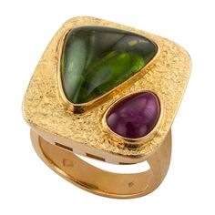 Contemporary Austrian Tourmaline Ring   From a unique collection of vintage fashion rings at https://www.1stdibs.com/jewelry/rings/fashion-rings/
