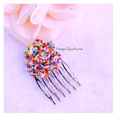 Sprinkle Hair Comb  5 Teeth Candy Sprinkle resin by tranquilityy