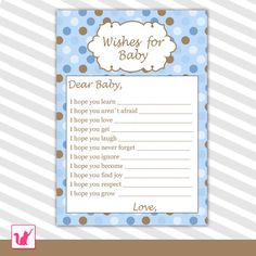 INSTANT DOWNLOAD Printable Blue Brown Polka Dots Wishes for Baby Card - Baby Shower Activities Baby Shower Games Baby Shower Favors