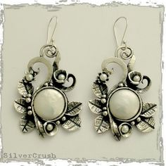 Sterling silver leaves with coin pearl botanical earrings - Crazy love
