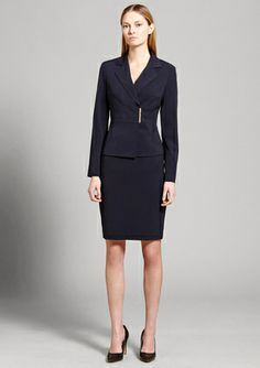 CALVIN KLEIN Notch Collar Skirt Suit with Metal Clasp