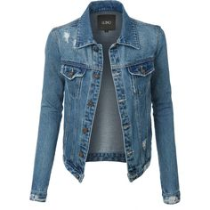 LE3NO Womens Vintage Long Sleeve Distressed Ripped Denim Jacket ($38) ❤ liked on Polyvore featuring outerwear, jackets, tailored jacket, vintage jackets, pocket jacket, blue jean jacket and denim jacket