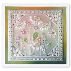 Tina Cox Flower Power! – Barbara Gray Blog Clarity Card, Barbara Gray Blog, Parchment Design, Parchment Cards, Butterfly Template, Little Flowers, Silk Ribbon Embroidery, Square, Tela