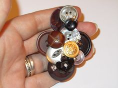 Brown Button Brooch Cluster Handmade Bespoke by Craftswithchrissie, £6.99