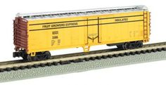 "This 50"" Fruit Growers' Express Reefer will make a great addition to your N Scale collection.  Most of our N scale rolling stock is now shipping in clear plastic boxes for display and storage convenience.  Click http://www.livelocomotion.com/product/BAC70990 to get your model of this box car today for $12.00"