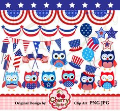 4th of July cute owls digital clipart set for-Personal and Commercial Use-Card Design, Scrapbooking, and Web Design. $4.50, via Etsy.
