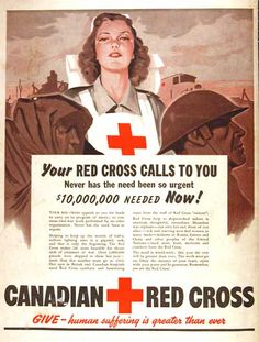 1943 ♦ Canadian Red Cross original vintage advert. Appeals for funds to aid in the Canadian War Effort.