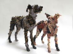 The Haberdasher's Hound and the Scottish Deerhound, both made from recycled Fabrics