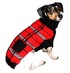 Scottish Plaid Dog Sweater, $26-30, from SimplyDogStuff.com.  Your pup will be very classy sporting one of our hand knit red, black and white acrylic plaid sweaters. It comes in sizes 6-18. Machine washable.