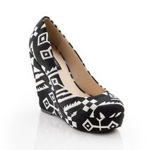 Take a look at this Black & White Suede Aztec Wedge by ShoeMint on today! Passion For Fashion, Love Fashion, Fashion Shoes, Womens Fashion, Girl Fashion, Tribal Fashion, Ladies Fashion, Unique Fashion, Stuffed Animals