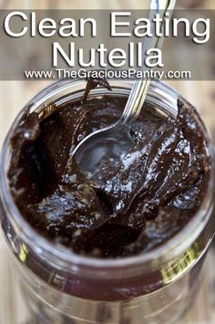 Clean Eating Nutella, YES!  ingredients: 1.5 c natural almond butter, 4 tbsp unsweetened cocoa, 1 tbsp olive oil, 1/4 c unsweetened almond milk, 1/4 c honey and 1 tsp vanilla extract.  Mix well in food processor.